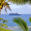 Cruise ship at anchor in bay off western coast of Niue Island, South Pacific. — Stock Photo #37902525