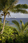 Cruise ship visits Niue Island, South Pacific. — Stock Photo