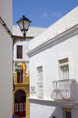 Centre of the traditional white village of Vejer de la Frontera, Andalusia, Spain. — Stock Photo