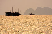 Traditional Vietnamese wooden boats sail in Halong Bay at sunset, Vietnam, South East Asia. — Stock Photo