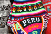 Peruvian knitted hat with traditional pattern, Peru. — Stock Photo