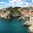 The fortified old town of Dubrovnik from the coast, Croatia. — Stock Photo