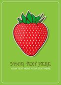 Tarjeta de felicitación de fresas. ilustración vectorial — Vector de stock