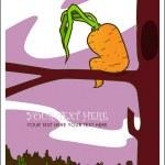 Sad carrot on the tree. — Stock Vector