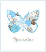 蝶の花のグリーティング カード. — ストックベクタ