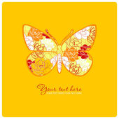 Greeting card with floral butterfly. — Stock Vector