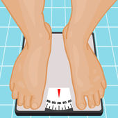 Foot on bathroom scale. — Stock Vector