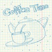 在写作本书的茶壶的剪影. — 图库矢量图片