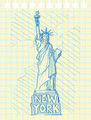 Sketch draw of statue of liberty in New York — Stock Vector