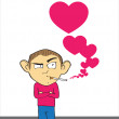 Smoking man with hearts. — Stock Vector