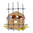 Crying hamster in a cage. — Stock Vector
