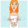 Beautiful girl with bouquet. — Stock Vector