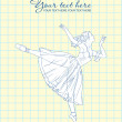 Ballerina in a writing-book — Stockvectorbeeld