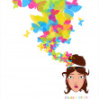 Beautiful girl head with butterflies. — Stock Vector #15886937