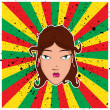 Beautiful girl head on the rasta background. — Stock Vector
