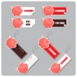 Vector set of tags and stickers with piggy bank. - Stock Vector