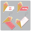 Vector set of tags and stickers with icecream cone. — Vektorgrafik