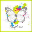 Butterfly on a withe background with blots. — Stock Vector