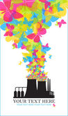 Abstract illustration of factory with butterflies. — Stock Vector