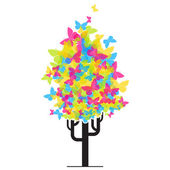 Abstract funky tree from butterflies. — Stock Vector