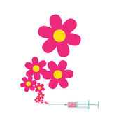 Syringe with flowers. — Stock Vector