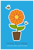 Cartão com flor engraçada e abelha. — Vetor de Stock