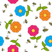 Seamless texture with cartoon flowers and bees. — Stock Vector