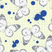 Seamless mönster med realistiska hand-dra en monarken fjäril — Stockvektor