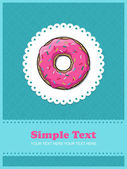 Doughnut greeting card with ornamental background. — Stock Vector