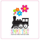 Abstract vector illustration with locomotive and flowers. — Stock Vector