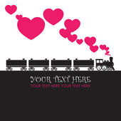 Abstract vector illustration with locomotive and hearts. — Stockvektor