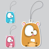Set of tags with funny hamster. — Stock Vector