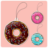 Vector set of tags with donut. — Stock Vector