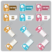 BIG vector set of tags and stickers with cartoon hamster. — Stock Vector