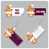 Vector set of tags and stickers with hedgehog. — Stock Vector