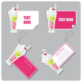 Vector set of tags and stickers with milkshake . — Stock Vector