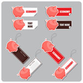 Vector set of tags and stickers with piggy bank. — Stock Vector