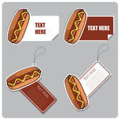Vector set of tags and stickers with hotdogs. — Stock Vector