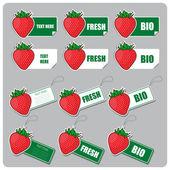Etiketler ve stickerlar çilek ile vektör kümesi — Stok Vektör