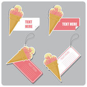 Vector set of tags and stickers with icecream cone. — Stock Vector