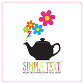 Abstract illustration of teapot with flowers. — Stock Vector