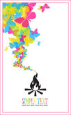 Abstract illustration of fire and butterflies instead of a smoke — Stock Vector