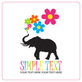 Abstract vector illustration with elephant and flowers. — Stock Vector
