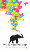 Abstract vector illustration with elephant and butterflies. — Stock Vector