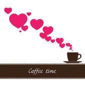 Ilustração em vetor abstrato da xícara de café e corações. — Vetorial Stock