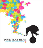 Abstract vector illustration with elephant and butterflies. — Vecteur