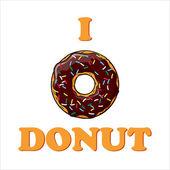 Ilustración vectorial con texto y donut. — Vector de stock