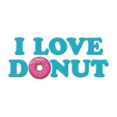 Vector illustration with text and donut. — Stock Vector