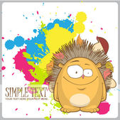 Cartoon hedgehog on a withe background with blots. — Stock Vector