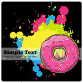 Donut on a black background with blots. — Stock Vector